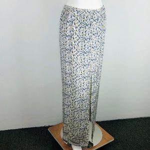 Yigal Azrouel Silk Front Slit Splatter Maxi Skirt